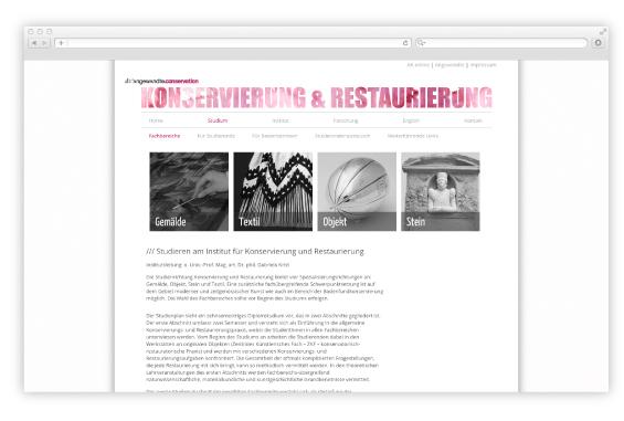 Webdesign Angewandte Konservierung & Restaurierung 2