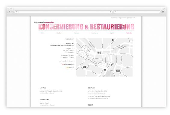 Webdesign Angewandte Konservierung & Restaurierung 3